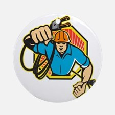 Electrician Construction Worker Ret Round Ornament