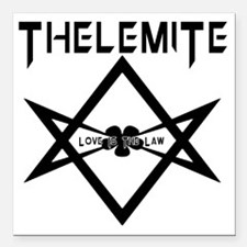 "Thelemite - Love Is The  Square Car Magnet 3"" x 3"""
