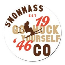 Go Huck Yourself Snowmass Round Car Magnet