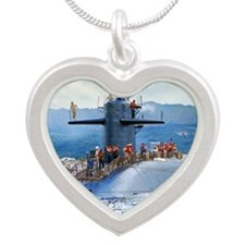 sp uss henry clay small post Silver Heart Necklace
