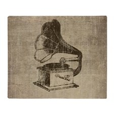 Vintage Phonograph Throw Blanket