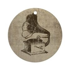 Vintage Phonograph Round Ornament
