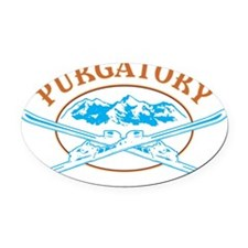 Purgatory Crossed-Skis Badge Oval Car Magnet