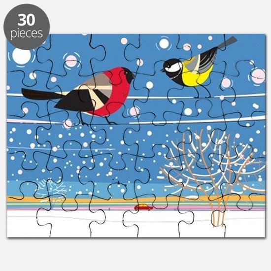 Winter Birds on a Wire Puzzle