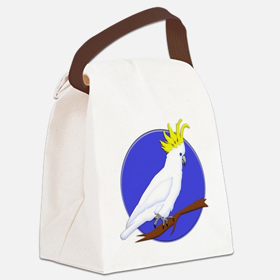 Yellow Crested Tropical Cockatoo Canvas Lunch Bag