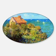 Claude Monet Fisherman Cottage Sticker (Oval)