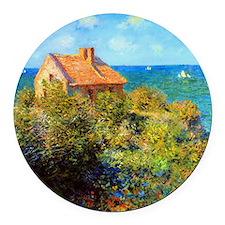 Claude Monet Fisherman Cottage Round Car Magnet