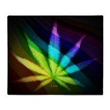 Rainbow Weed Throw Blanket