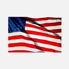 US Flag waving in the wind Rectangle Magnet