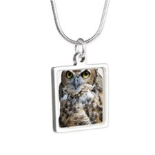 Great Horned Owl Silver Square Necklace