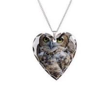 Great Horned Owl Necklace Heart Charm