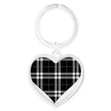Black Plaid Heart Heart Keychain