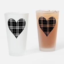 Black Plaid Heart Drinking Glass