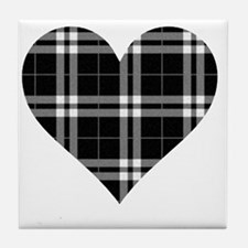Black Plaid Heart Tile Coaster