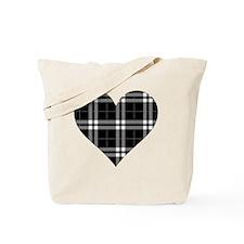 Black Plaid Heart Tote Bag