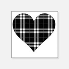 "Black Plaid Heart Square Sticker 3"" x 3"""