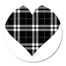 Black Plaid Heart Round Car Magnet