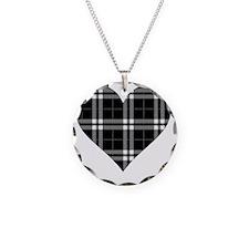 Black Plaid Heart Necklace