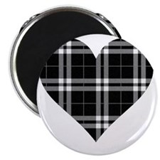 Black Plaid Heart Magnet