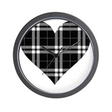 Black Plaid Heart Wall Clock
