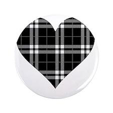 """Black Plaid Heart 3.5"""" Button"""