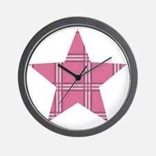 Pink Plaid Star Wall Clock