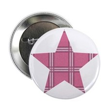 "Pink Plaid Star 2.25"" Button"