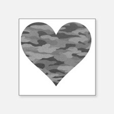 "Grey Camo Heart Square Sticker 3"" x 3"""