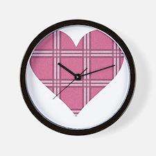 Pink Plaid Heart Wall Clock