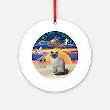 C-Angel-Birman cat Round Ornament