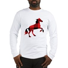 Red Plaid Horse Long Sleeve T-Shirt