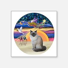 "C-Angel-Birman cat Square Sticker 3"" x 3"""