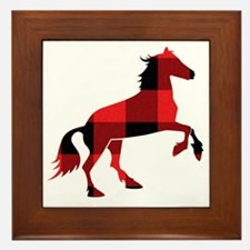 Red Plaid Horse Framed Tile