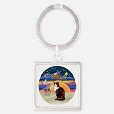 C-Angel-Calico Cat Square Keychain