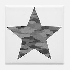 Grey Camo Star Tile Coaster