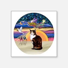 "C-Angel-Calico Cat Square Sticker 3"" x 3"""