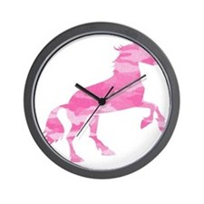 Pink Camo Horse Wall Clock