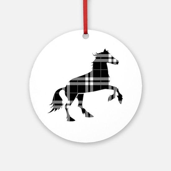 Black Plaid Horse Round Ornament