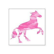 """Pink Camo Horse Square Sticker 3"""" x 3"""""""