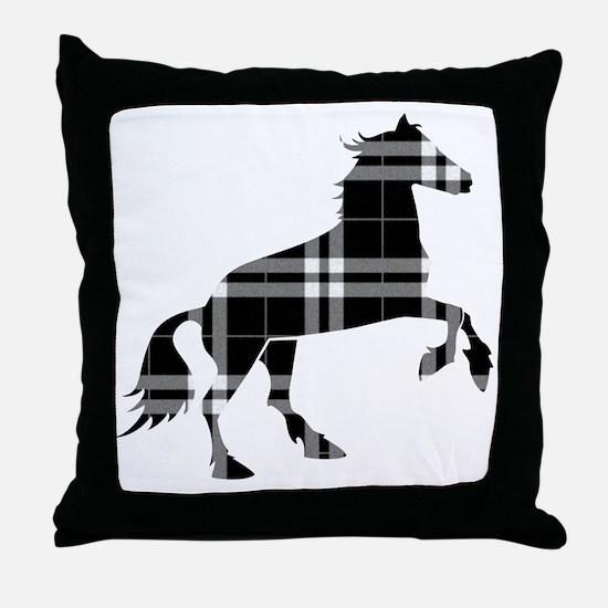 Black Plaid Horse Throw Pillow