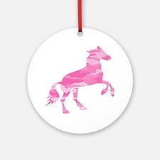 Pink Camo Horse Round Ornament