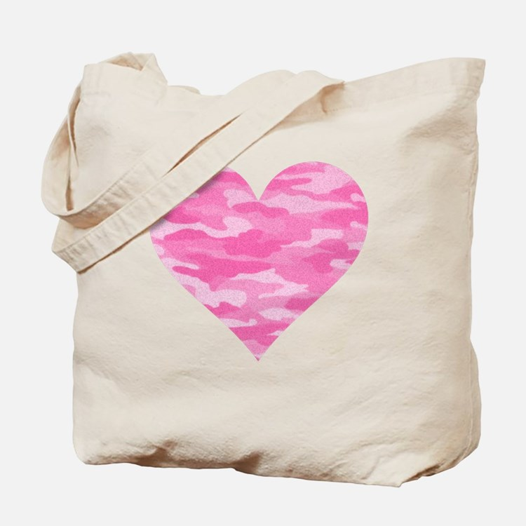 Pink Camo Heart Tote Bag