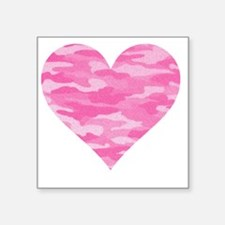 "Pink Camo Heart Square Sticker 3"" x 3"""