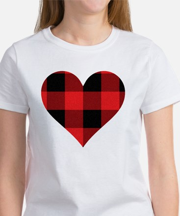 Red PLaid Heart Women's T-Shirt