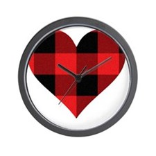Red PLaid Heart Wall Clock