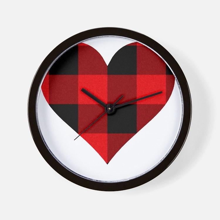 Red PLaid Heart Wall Clock