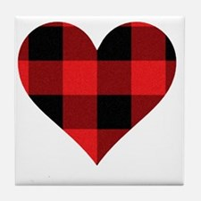 Red PLaid Heart Tile Coaster