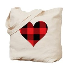 Red PLaid Heart Tote Bag