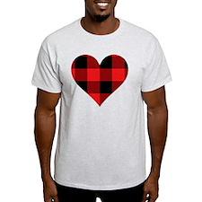 Red PLaid Heart T-Shirt