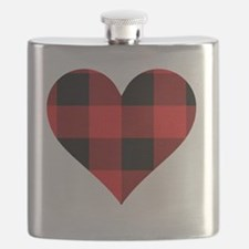 Red PLaid Heart Flask